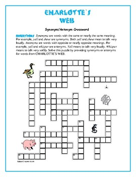 Charlotte's Web: 25-Word Prereading Crossword—Use w/Bookma