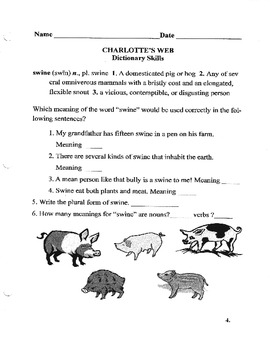 Charlotte's Web of Dictionary Skills