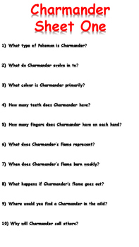 Charmander Reading Comprehension