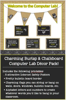 Charming Burlap & Chalkboard Computer Lab Decor Pack