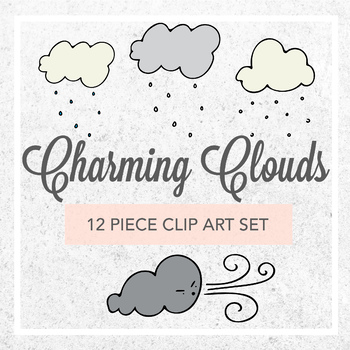 Charming Clouds Weather Clip Art Set