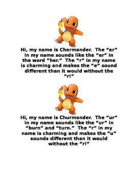 Charming R (bossy r) Charmander and Friends