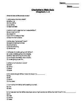 Charlotte's Web Quiz Chap 1-3