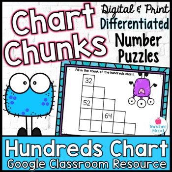 Chart Chunks - Common Core Math Work Station/Center 99 Chart Black White