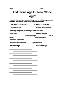 Chart comparing the differences between the Old Stone Age and New Stone Age