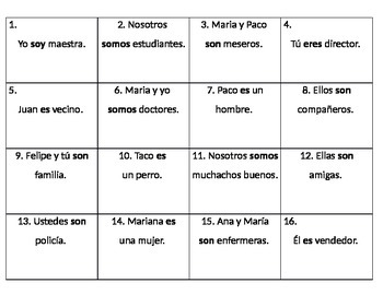 Chart for Conjugation Practice with SER and People vocabulary