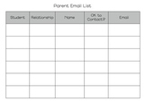 Chart to Organize Parent Email Addresses