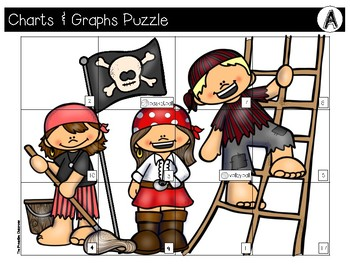 Charts and Graphs File Folder Puzzles Pirate Theme