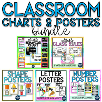 Charts and Posters BUNDLE with Watercolor backgrounds