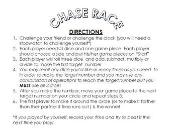 Chase Race Math Fact Game Add Subtract Multiply Divide