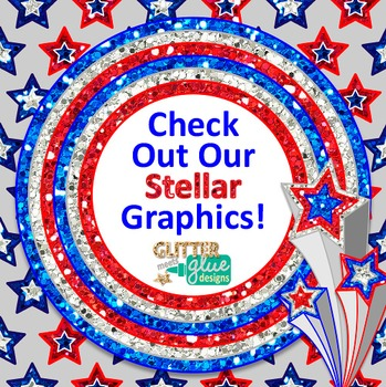 Fourth of July Clip Art {Independence Day Frames, Scrapbook Papers & Stars}