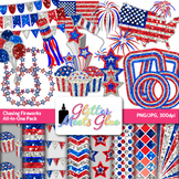 Fourth of July Clip Art | Independence Day Frames, Scrapbook Papers & Stars