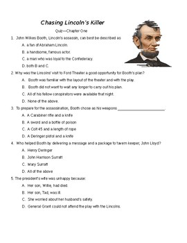 Chasing Lincoln's Killer - Complete set of 10 quizzes by chapter
