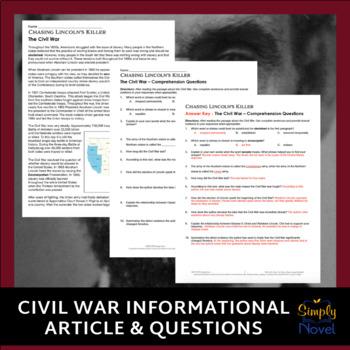 Chasing Lincoln's Killer Common Core Reading Companion Lessons, Questions