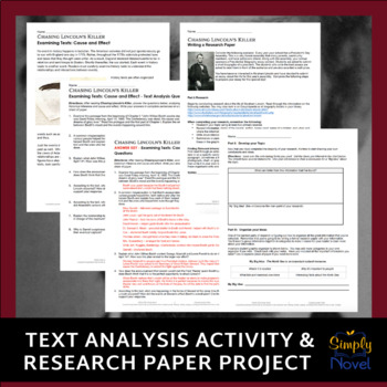 Chasing Lincoln's Killer Research Paper Project, Cause & Effect Text Analysis