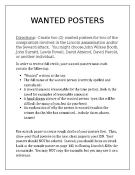 Chasing Lincoln's Killer: Wanted Poster Activity