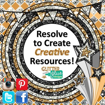 New Year's Resolution Clip Art, Scrapbook Paper, Frames | Countdown Celebration
