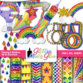 Chasing Rainbows Clip Art {Scrapbook Paper, Frames, Badges, Stars, Pennant}