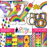 Chasing Rainbows Clip Art {Scrapbook Paper, Frames, Badges, Stars, Pennant}