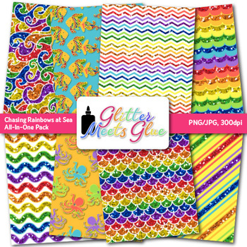 Chasing Rainbows at Sea Clip Art {Scrapbook Paper & Frame for Summer Activities}