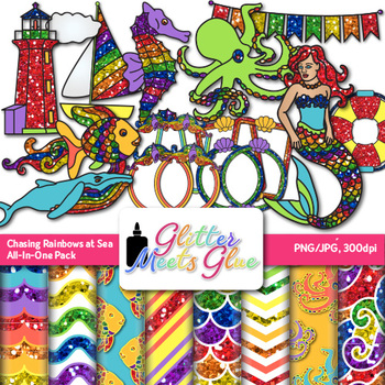 Chasing Rainbows at Sea Clip Art | Scrapbook Paper & Frame for Summer Activities