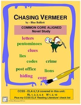 CHASING VERMEER Novel Unit Common Core Aligned