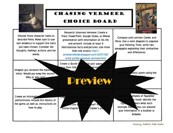 Chasing Vermeer Choice Board Novel Study Activities Menu Book Project