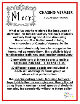 Chasing Vermeer Vocabulary Bingo