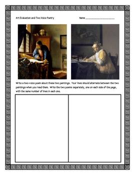 Chasing Vermeer, by B. Balliett, Art Evaluation Activities