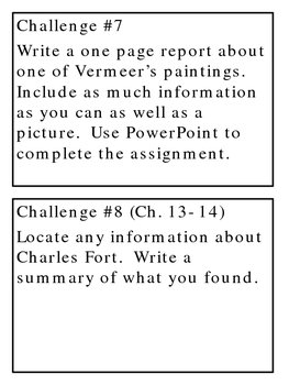 Chasing Vermeer, by B. Balliett, Project Challenges