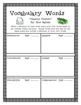 Chasing Vermeer, by B. Balliett, Vocabulary Word Packet