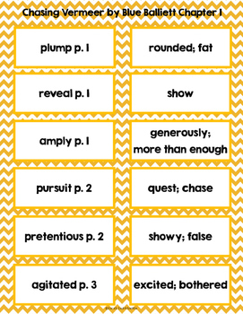 Chasing Vermeer by Blue Balliett Vocabulary Cards and Vocabulary Bookmarks