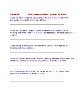 Chasse au Tresor Review Game for Beginning Level French