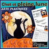 Arts plastiques: Chat à la pleine lune, français, Automne, Halloween