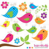 Chatter Birds Cute Digital Clipart, Bird Graphics