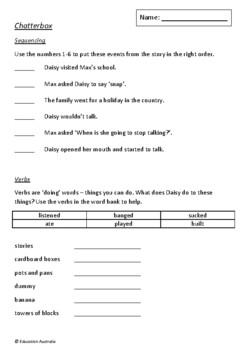 Chatterbox by Margaret Wild and Deborah Niland - 5 Worksheets