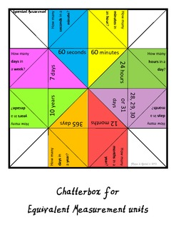 Chatterbox for Equivalent Measurement Units.  Just print-cut-fold and play