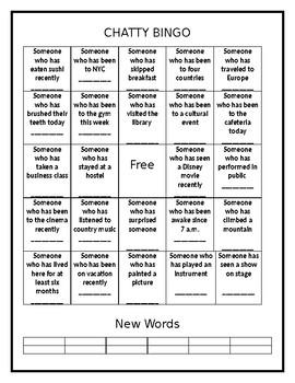 Chatty Bingo: Present Perfect 1