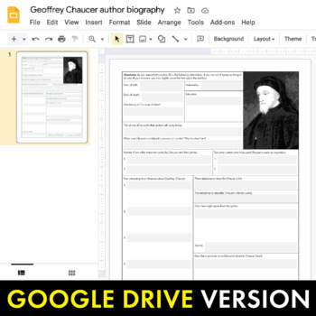 Chaucer Author Study Worksheet, The Canterbury Tales, Easy Biography Activity, C