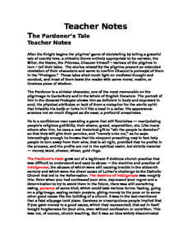 Chaucer - The Pardoner's Tale  22 page PACKET (tests, worksheets, essay, etc.)