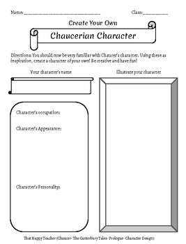 Chaucerian Character Design By That Happy Teacher TpT - Character design document