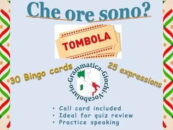 Che ore sono? Bingo Telling Time in Italian  L'ora in italiano