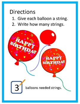 Math Center - Balloons  (K-1)