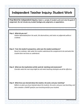 Cheat Sheets for Teacher Inquiry: Student Work (SLO & Danielson Model Aligned)