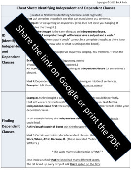 Cheat Sheet: Independent and Dependent Clauses | NoRedInk aligned