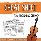 Beginning Strings Cheat Sheet - Handout and Reminder for Orchestra Students