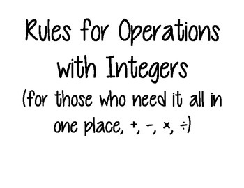 Cheat Sheet for Integer Rules