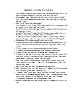 Speech Therapy-AAC Cheat Sheet for programming touch Chat Application