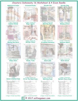 Cheaters-Dishonesty 16 Worksheet- 4 Exam Bundle