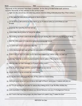 Cheaters-Dishonesty Scrambled Sentences Worksheet